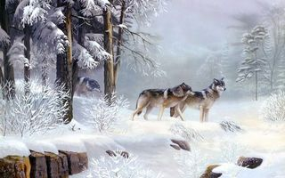 Бесплатные фото волки, стая, зима, деревья, лес, картина, природа