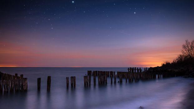 Фото бесплатно закат, небо, звезды