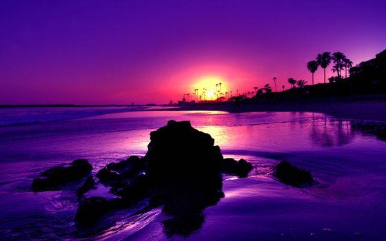 Фото бесплатно закат солнца, берег моря