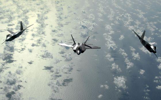 Фото бесплатно истребители, океан, полет