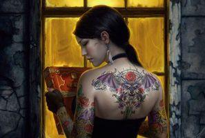 Бесплатные фото рендеринг,девушка,цыганка,магия,книга,татуировка,летучая мышь