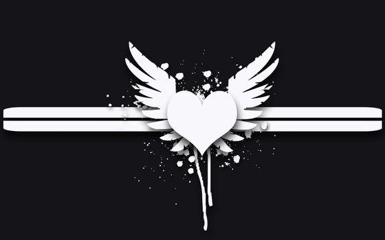 сердце, крылья, узоры, полосы, стиль
