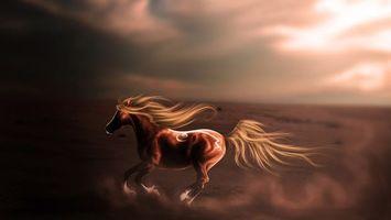 Photo free horse, running, mane