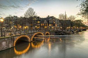 Заставки Amsterdam, Амстердам, столица и крупнейший город Нидерландов, Нидерланды, Расположен в провинции Северная Голландия, Голландия, панорама