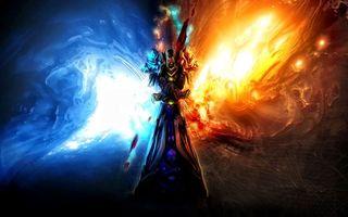 Бесплатные фото человек,воин,свет,огни,синий,красный,пламя