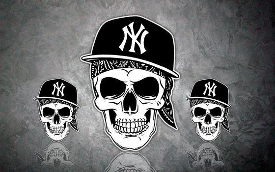 Заставки черепа, кепка, музыка