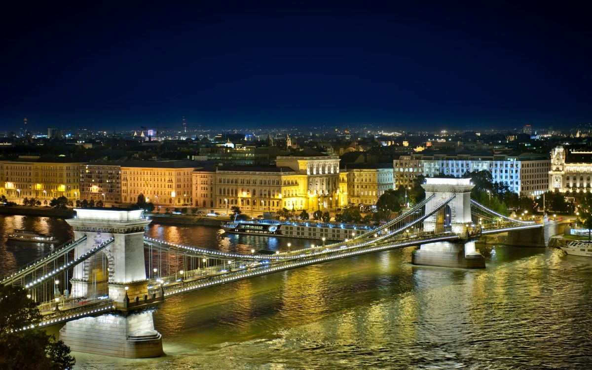 Free photo bridge, river, houses, cars, evening, light, city - to desktop