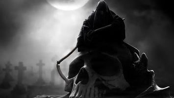 Обои ночь, луна, кладбище, кресты, череп, смерть, коса, фантастика