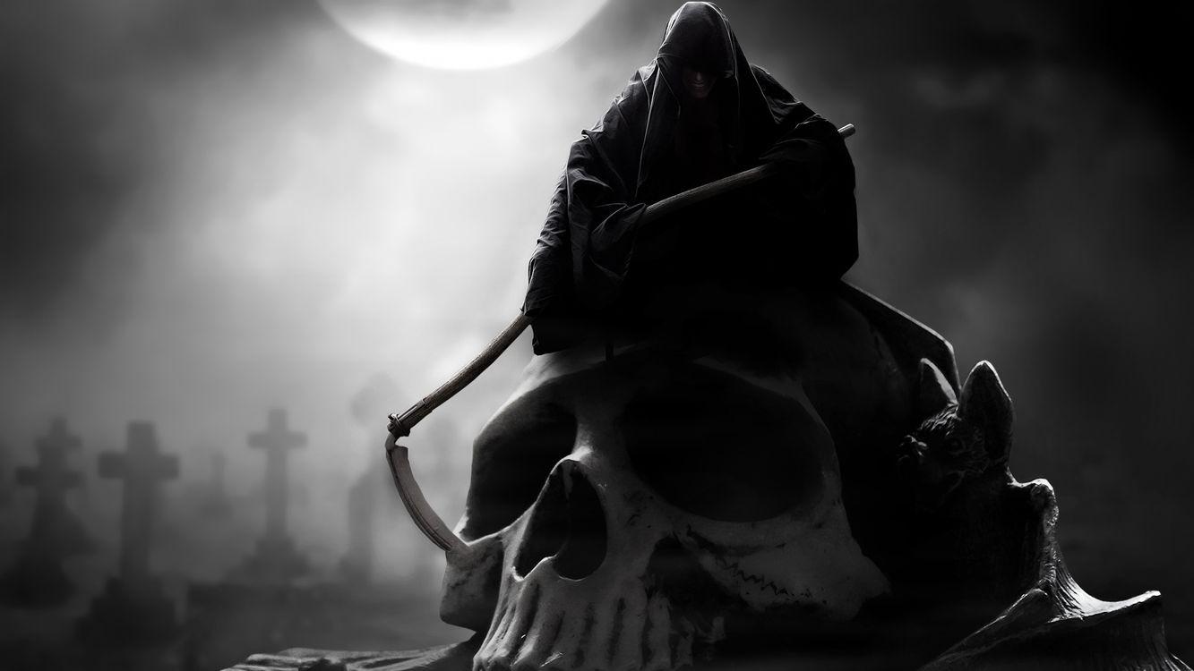 Фото бесплатно ночь, луна, кладбище - на рабочий стол