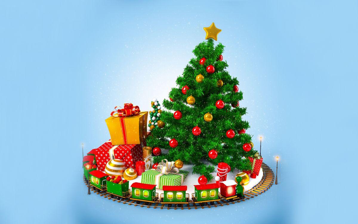 Фото бесплатно новогодняя елка, новогодние игрушки, подарки, коробки, паравозик, фон, новый год, новый год