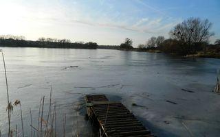 Фото бесплатно озеро, лед, мостик