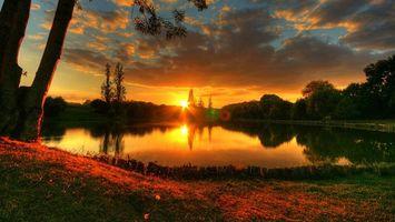 Бесплатные фото озеро,вечер,закат,солнце,деревья,берег,пейзажи