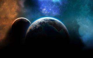 Заставки планеты, небо, туман, свет, звезды, ярко, зарево, космос