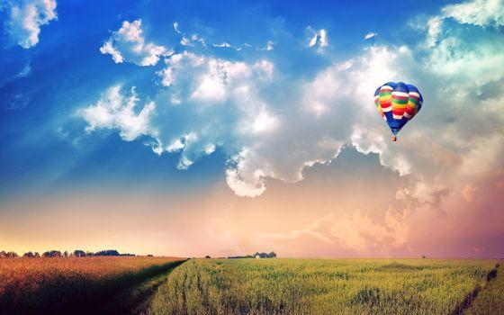 Бесплатные фото поле,тучи,воздушный шар,пейзажи