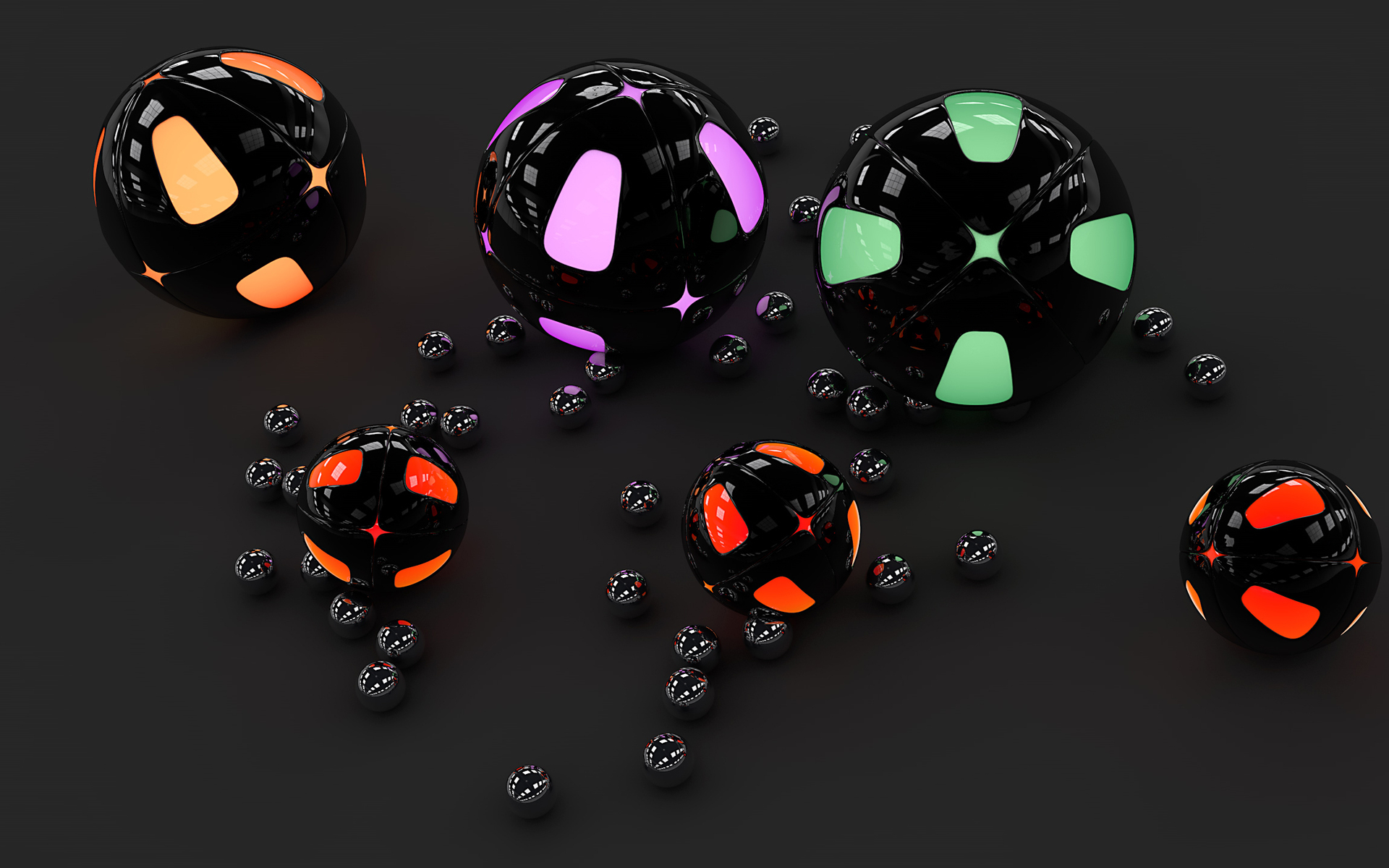 шары, круги, отражение