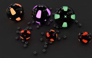 Бесплатные фото шары, круги, отражение, блики, фон, черный, узор