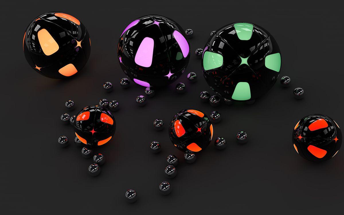 Фото бесплатно шары, круги, отражение, блики, фон, черный, узор, цвета, 3d графика, 3d графика