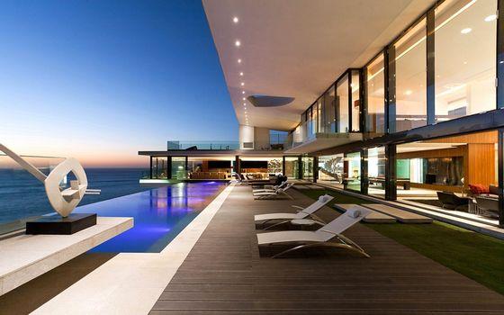 Бесплатные фото шезлонги,вид,море,подсветка,панорамный вид,стекла,hi-tech,интерьер