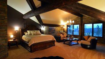 Бесплатные фото спальня, кровать, окно, кресла, подушки, светильник, интерьер