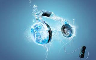 Обои телефон, плеер, наушники, играть, фон, заставка, вода, брызги, голубой, синий, шнур, 3d графика