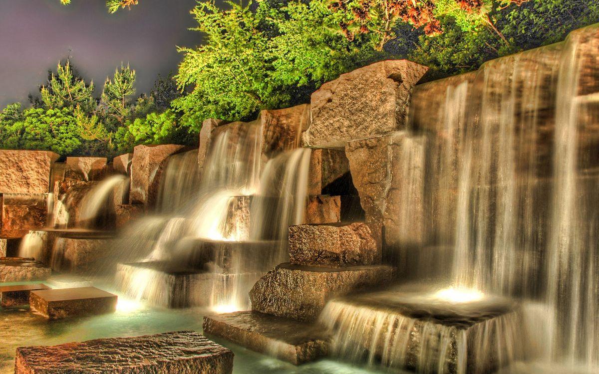 Фото бесплатно водопад, плиты, камень - на рабочий стол