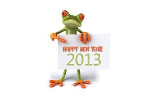 Бесплатные фото 2013,лягушка,поздравляет,с новым годом,happy new year,табличка,белый