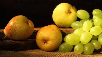 Бесплатные фото fruit,виноград,желтые,груши,pears,grapes,фрукты