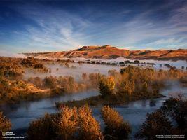 Бесплатные фото река,туман,national geographic,деревья,островки,гора,холм