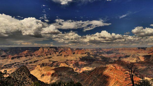 Фото бесплатно аризона, сша, гранд каньон, горы, долина, небо, даль, горизонт, облака, пейзажи