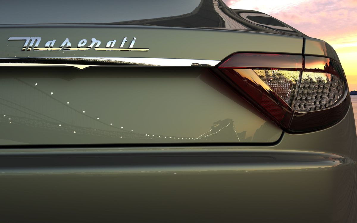 Фото бесплатно автомобиль, зеленый, багажник, фары, зад, небо, вечер, улица, мозератти, машины, машины