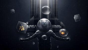 Обои человек, скафандр, шлем, капсула, космонавт, астронавт, куб, звезды, чернота, рыба, nasa, абстракции