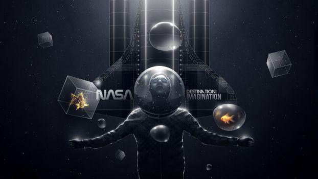Photo free man, space suit, helmet