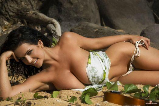 Фото бесплатно denise milani, rocks, пляж, брюнетка, модель, пляж, сексуальная, big boobs, эротика