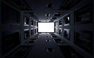 Заставки дом,окна,стекла,кирпич,стены,небо,вид