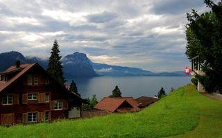 Бесплатные фото дома,вода,деревья,трава,горы,небо,город