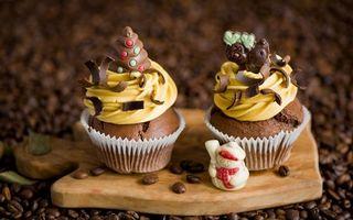 Бесплатные фото кексы,сладости,кофе,зерна,десерт,разделочная доска,еда