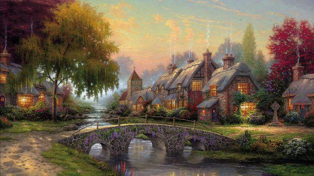 Фото бесплатно картина, река, небо