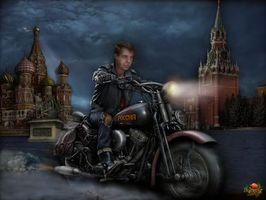 Фото бесплатно мотоцикл, медведев, кремль