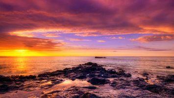 Бесплатные фото небо,облака,солнце,закат,камни,море,океан