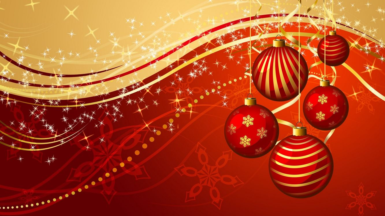 Фото бесплатно новогодние игрушки, снежинки, волны, украшения, красный, вектор, рисунок, новый год, новый год