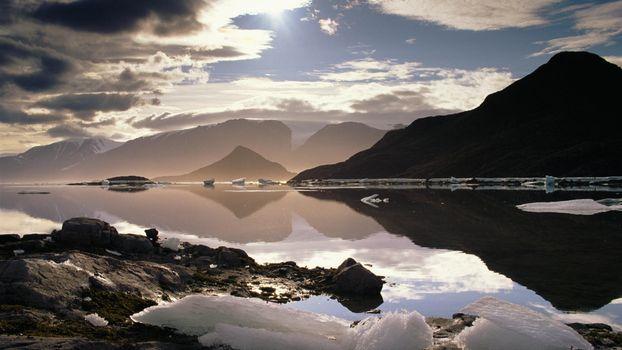 Фото бесплатно облака, вода, море, горы, вершины, лед, льдины, холод, разное