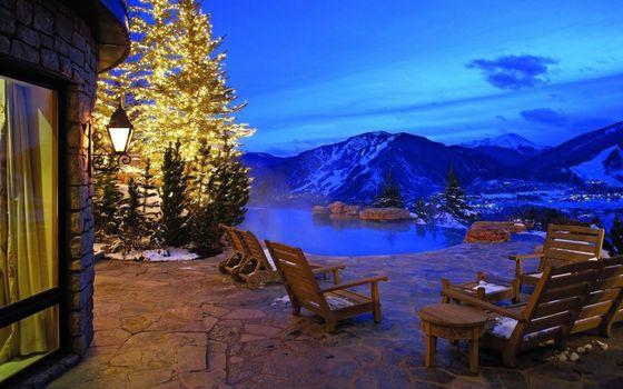Заставки пейзаж, горы, вечер