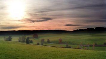 Бесплатные фото поле,трава,зеленая,деревья,небо,тучи,природа