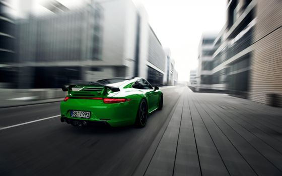 Photo free porsche 911, acid-green, road