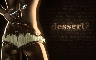 Обои шоколад, клубника, тело, ложка, рука, трусы, зад, десерт, надпись, слова, абстракции, еда