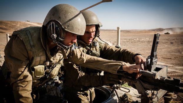 Фото бесплатно солдаты, пулемет, каски