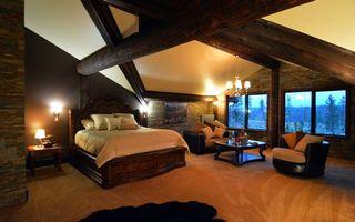 Бесплатные фото спальня, кровать, кресла, столик, подушки, окно, интерьер