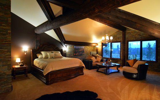 Фото бесплатно спальня, кровать, кресла