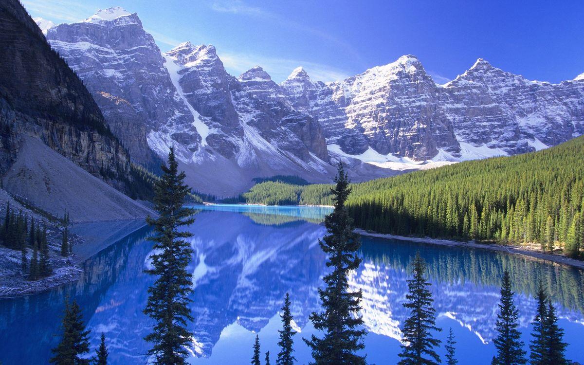 Фото бесплатно вода, река, горы, снег, озеро, скалы, лес, природа, природа