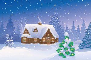 Фото бесплатно зима, снег, домик, дым, огни, елка, игрушки, рождественская звезда, рисунок, новый год, праздники